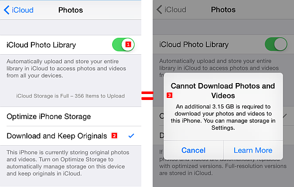 icloud prompt download and keep originals