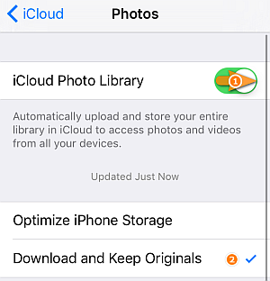 enable icloud photo library keep originals option