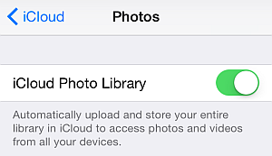 icloud photo library settings on ios 9