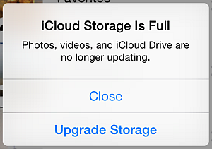 icloud storage is full and photos are no longer uploading prompt