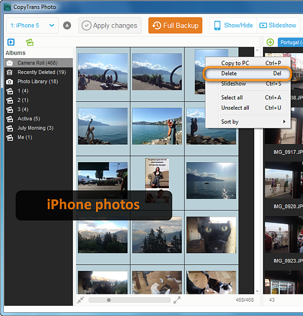 delete iphone photos with copytrans photo