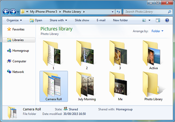 iphone photos in windows explorer window