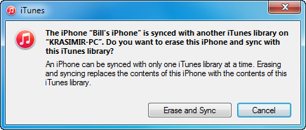the iphone is synced with another itunes library