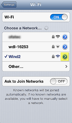 enter wifi network options on iphone