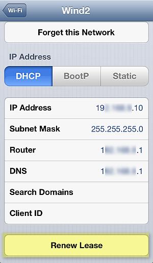 renew wifi network lease iphone