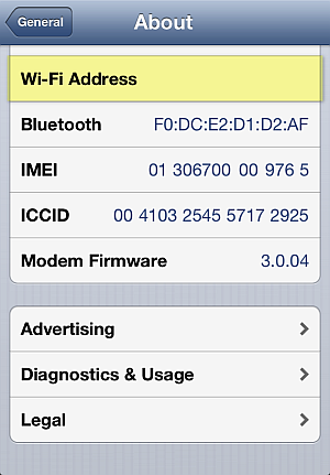 wifi address on iphone not displayed