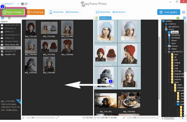 Drag and drop photos from PC to iPhone