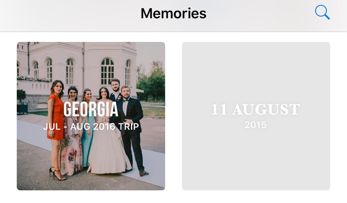 Memories can show you trips and specific days like Facebook