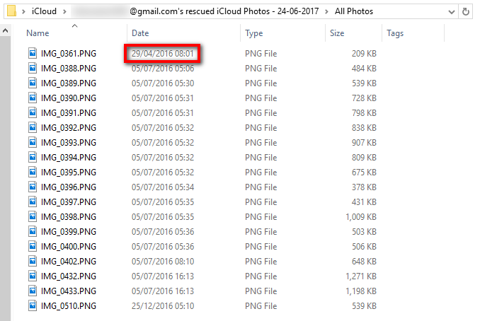 Retrieved iCloud photos deleted in 2016