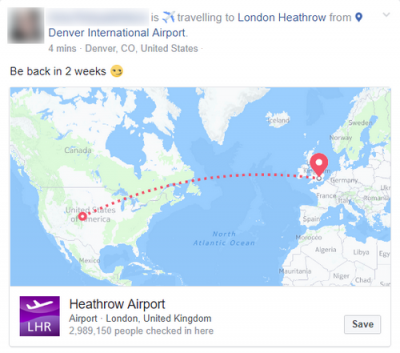 Facebook traveling post
