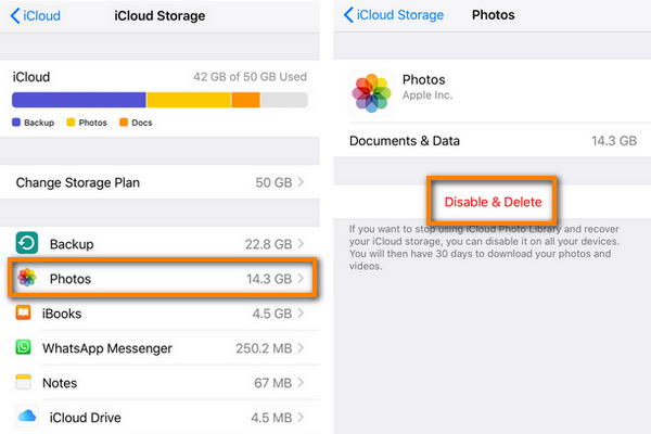 Disable and delete iCloud photos
