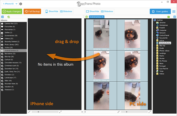 Drag drop photos to iPhone