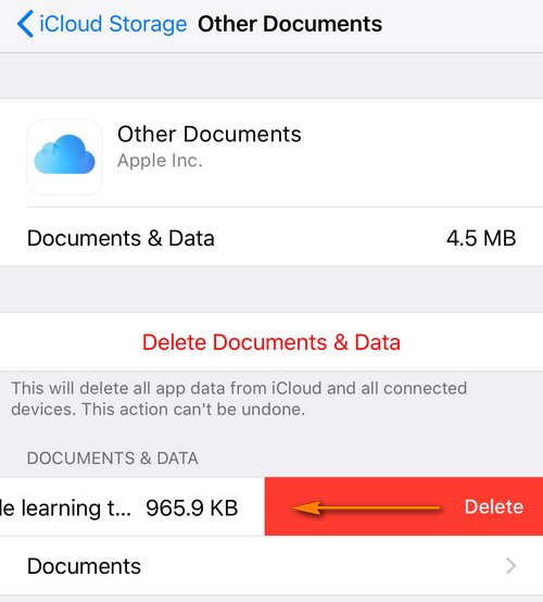 Delete files from iCloud drive
