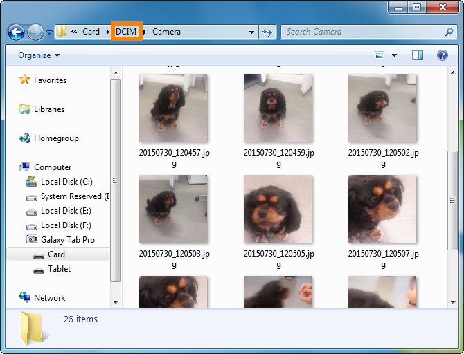 Navigate to the DCIM folder of your Android device to save pictures to PC