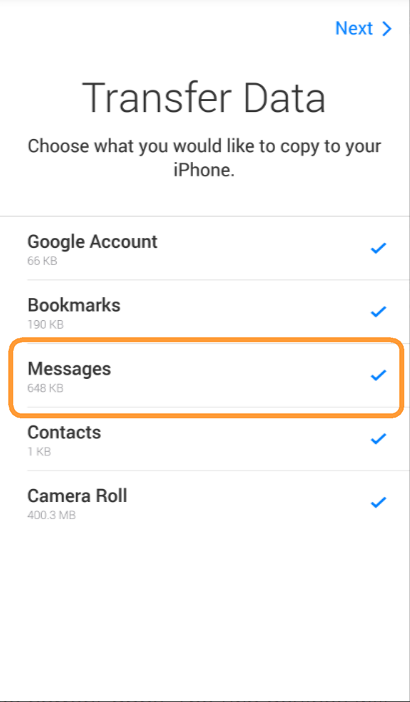 Select messages to move them from Android to iOS