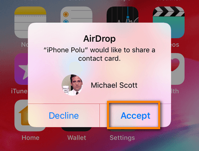 Accept contact via AirDrop