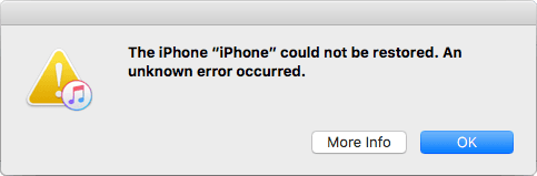 iPhone could not be restored message