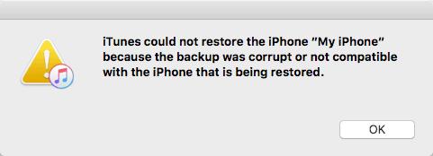 iPhone backup corrupt error message