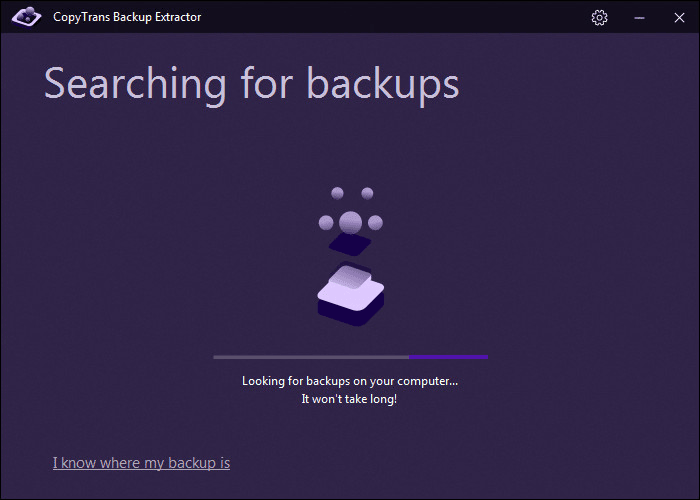 find backups to recover with CopyTrans Backup Extractor