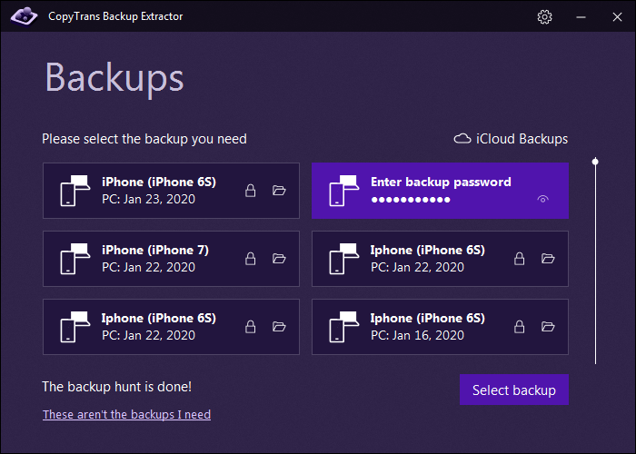 Enter the backup password