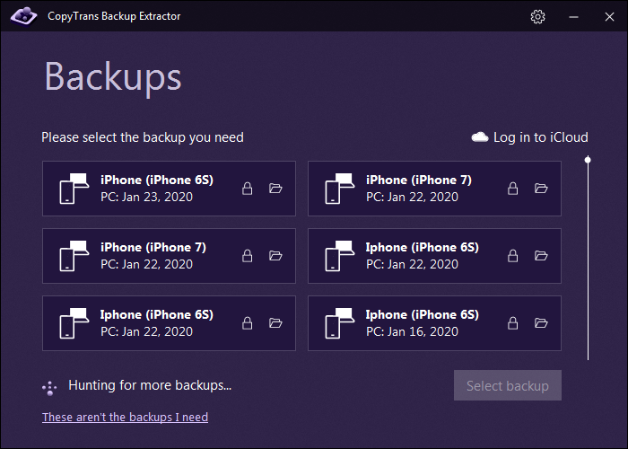 backup list while logged out of iCloud