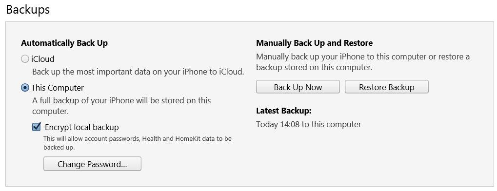 Check the backup settings in iTunes