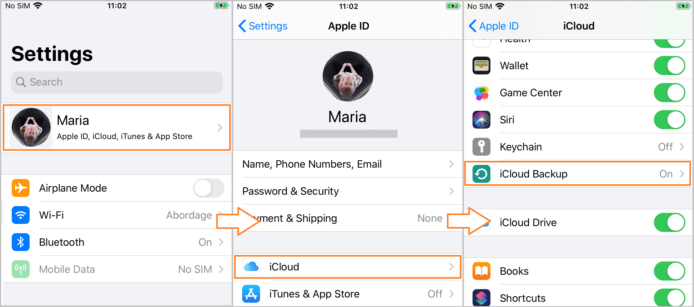 Find iCloud backup section on iPhone