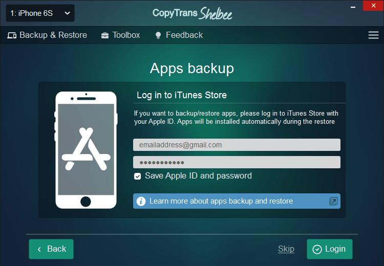 Backup iPhone apps: App Store login screen