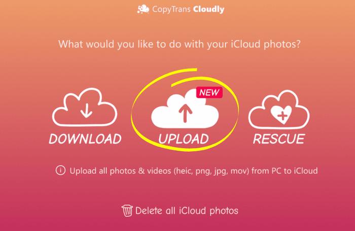 CopyTrans Cloudly upload button