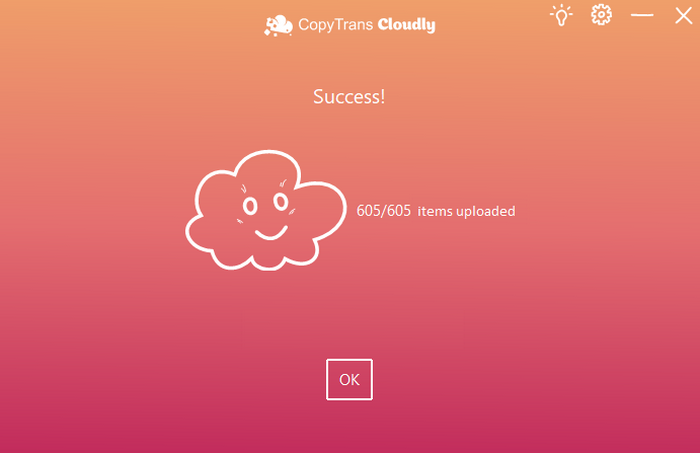 CopyTrans Cloudly upload success
