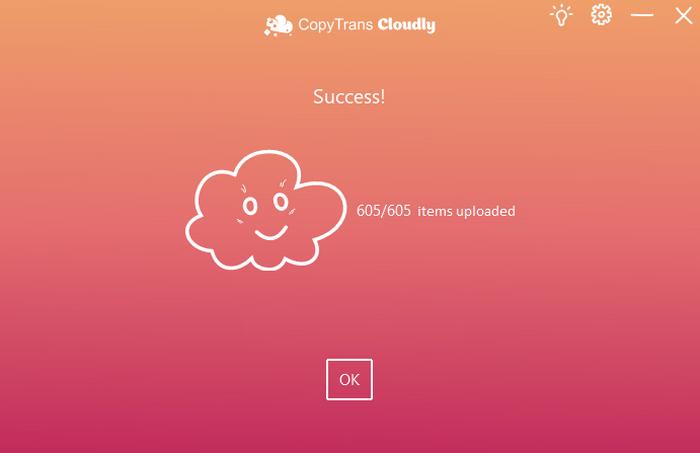 Successful upload CopyTrans Cloudly