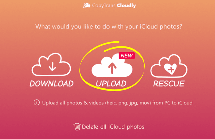 Uploading photos to iCloud with CopyTrans Cloudly
