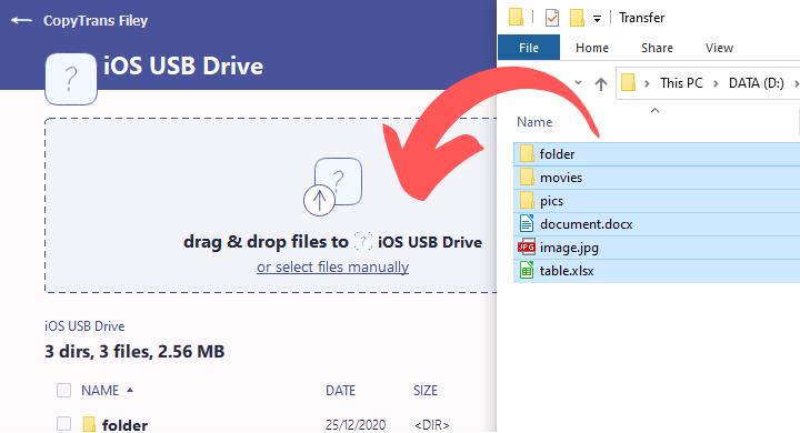CopyTrans Filey transfer to iOS USB drive