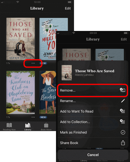 Remove books from your iPhone