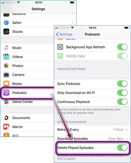 Manage podcasts in your iPhone