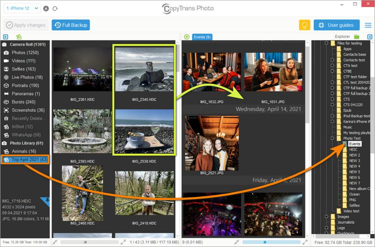 copy photos from iphone to pc