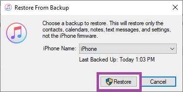 click on restore button