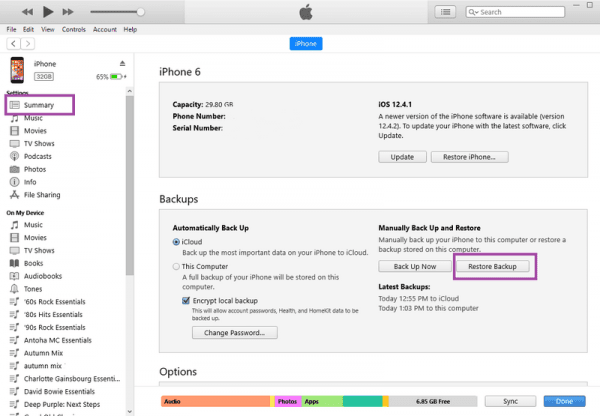 how to restore iphone from iTunes to PC step 2