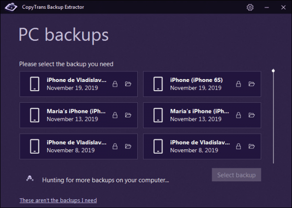 choose the back up from the list of backups