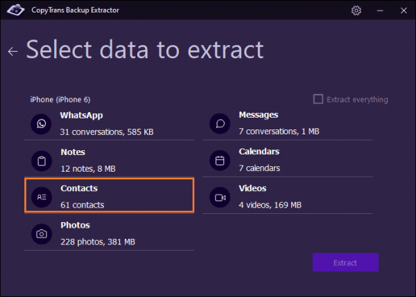 select types of data you want to extract