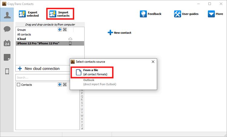CopyTrans Contacts import function