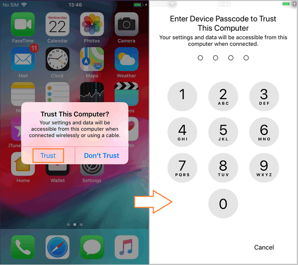 Tell iPhone to trust computer
