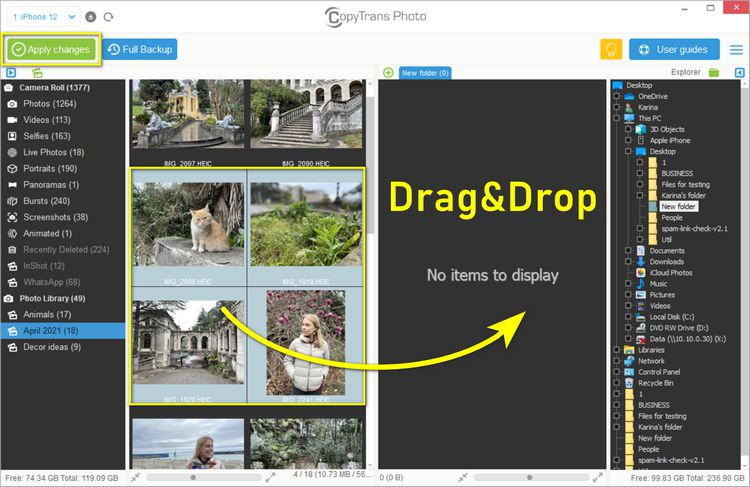 Drag and drop heic files to PC side