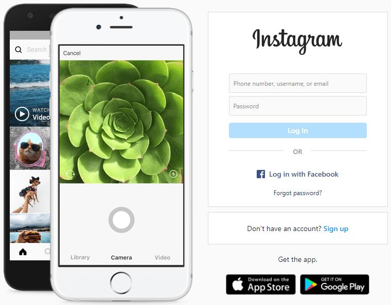 Instagram PC login screen
