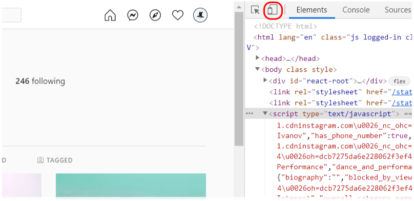 Web browser mobile device toolbar toggle
