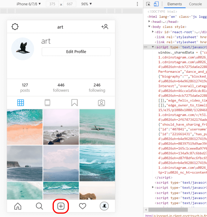 Mobile version of Instagram in a PC browser