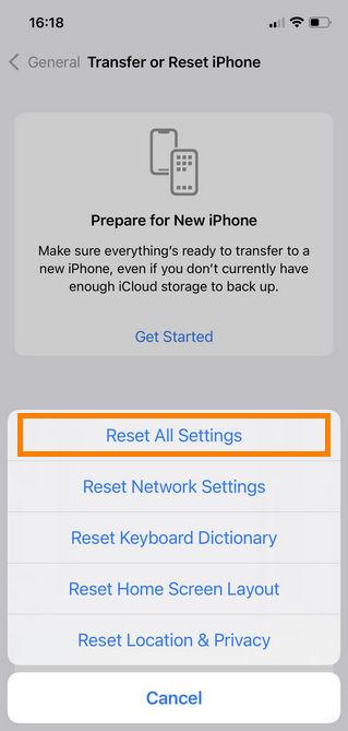 Reset all settings in iOS 11