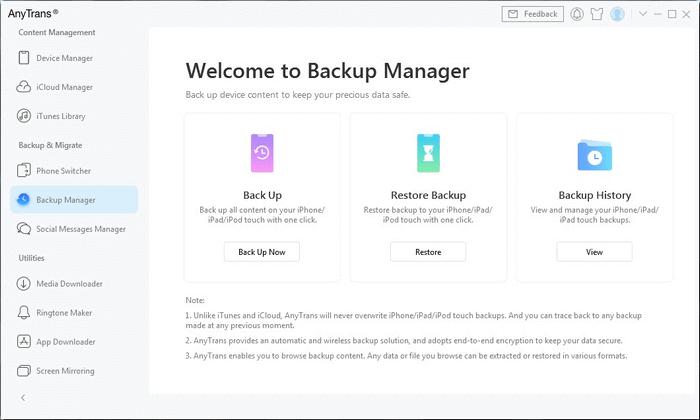 AnyTrans backup recover main screen