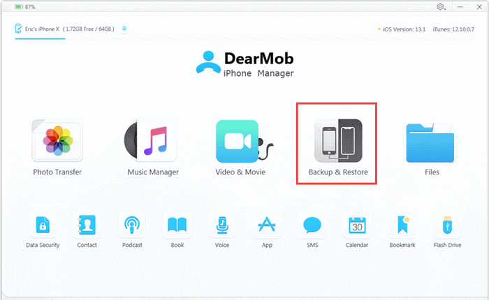 DearMob main screet to backup and restore