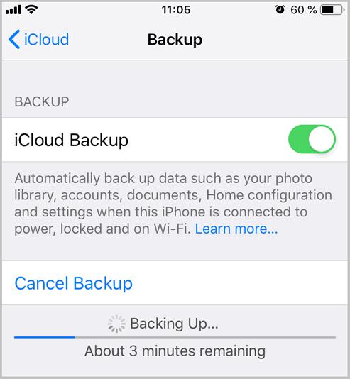 iCloud backup in progress